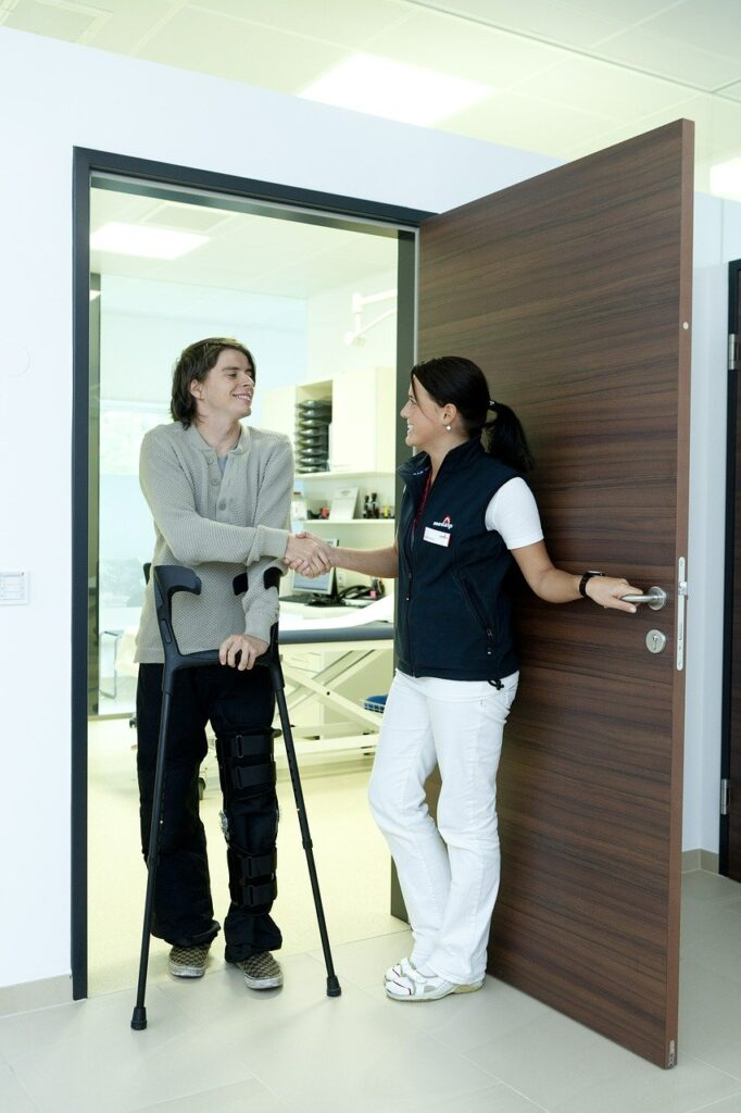 Walking in patient